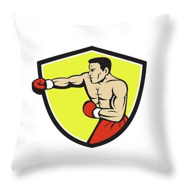 Boxer Jabbing Punching Crest Cartoon Throw Pillow