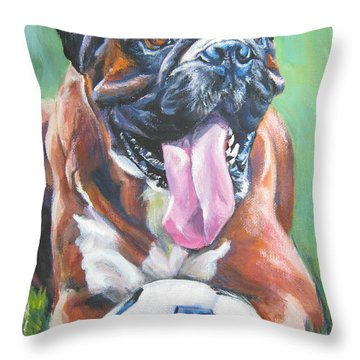 Boxer Soccer Throw Pillow by Lee Ann Shepard