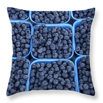 Boxes Of Blueberries Throw Pillow