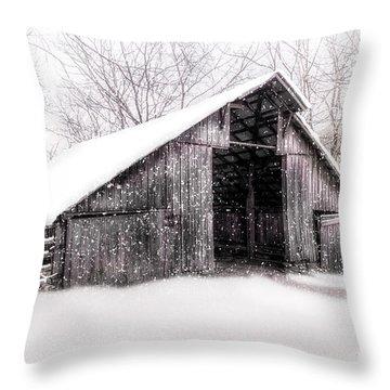Boxley Snow Barn Throw Pillow