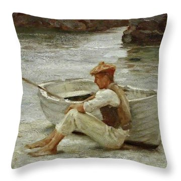 Throw Pillow featuring the painting Boy And Boat  by Henry Scott Tuke