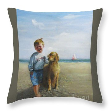Throw Pillow featuring the painting Boy And His Dog At The Beach by Oz Freedgood