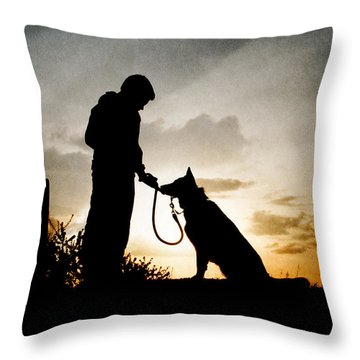 Boy And His Dog Throw Pillow