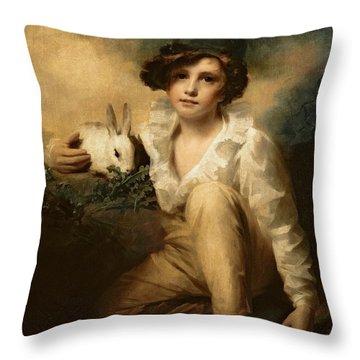 Boy And Rabbit Throw Pillow