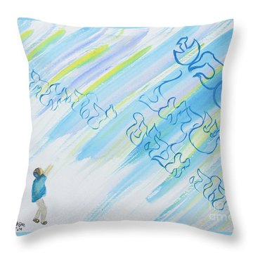 Boy And Shma Shema Throw Pillow