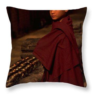 Boy Buddhist In Bodh Gaya Throw Pillow