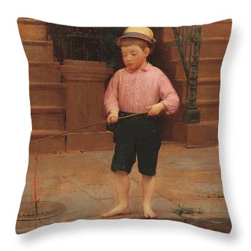 Boy Fishing At 58 And A Half East 10th Street, 1871 Throw Pillow