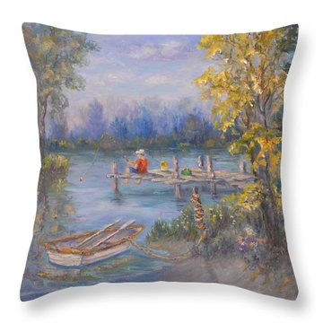 Boy Fishing On Dock And Boat On Lake Throw Pillow