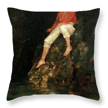 Throw Pillow featuring the painting Boy Fishing On Rocks  by Henry Scott Tuke