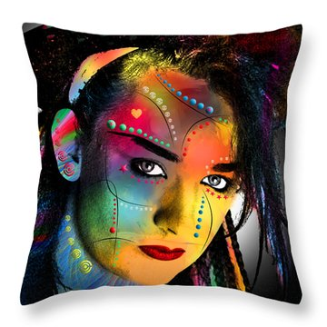 Boy George  Throw Pillow by Mark Ashkenazi