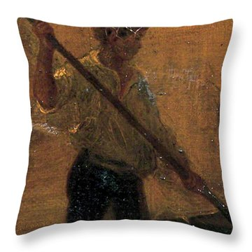Throw Pillow featuring the painting Boy In A Punt by Henry Scott Tuke