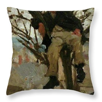 Throw Pillow featuring the painting Boy In A Tree by Henry Scott Tuke