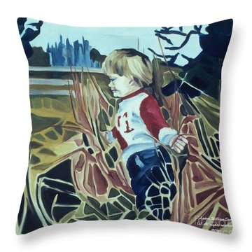 Boy In Grassy Field Throw Pillow