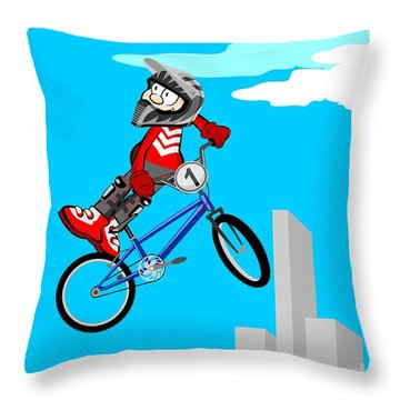 Boy Jumping High In The Sky With His Bmx Bicycle Throw Pillow