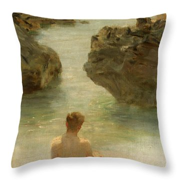 Throw Pillow featuring the painting Boy On A Beach, 1901 by Henry Scott Tuke