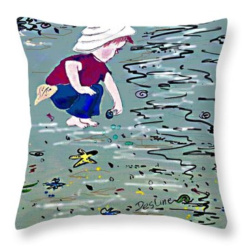 Throw Pillow featuring the painting Boy On Beach by Desline Vitto