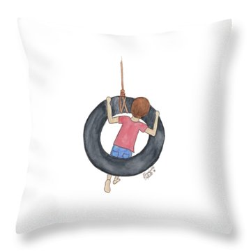 Throw Pillow featuring the painting Boy On Swing 1 by Betsy Hackett