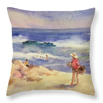 Boy On The Sand Throw Pillow by Joaquin Sorolla