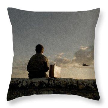 Boy On Wall Throw Pillow