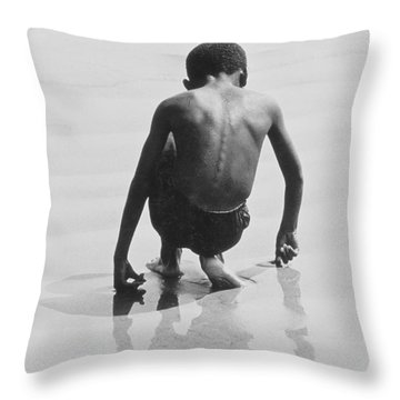 Boy Playing In The Sand At Coney Island Throw Pillow