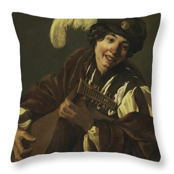 Boy Playing The Lute Throw Pillow
