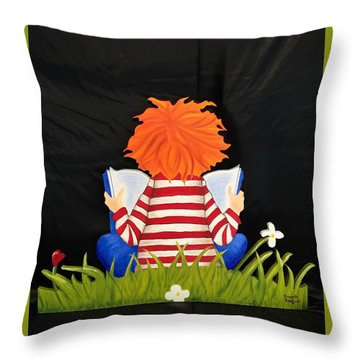 Boy Reading Book Throw Pillow