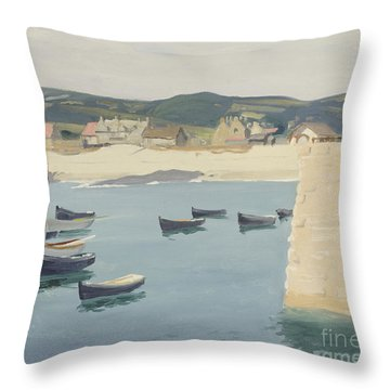 Boy Reading On A Harbour's Edge  Throw Pillow by William Strang