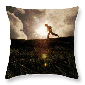 Boy Running Throw Pillow