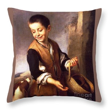 Boy With A Dog Throw Pillow by Pg Reproductions