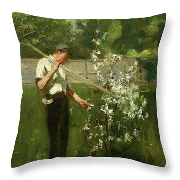 Throw Pillow featuring the painting Boy With A Grass Rake by Henry Scott Tuke