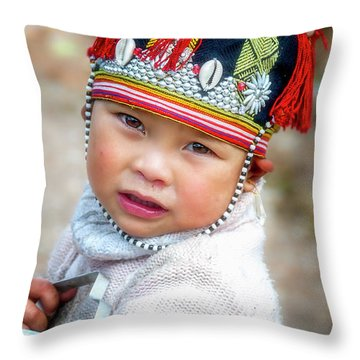Boy With A Red Cap. Throw Pillow