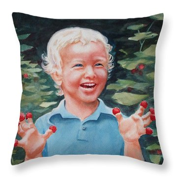 Boy With Raspberries Throw Pillow by Marilyn Jacobson