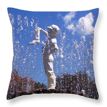 Throw Pillow featuring the photograph Boy With The Boot by Shawna Rowe