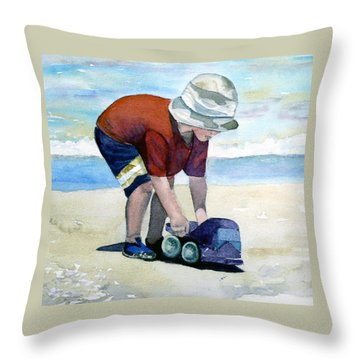 Boy With Truck Throw Pillow