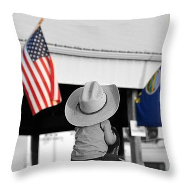Boy With Two Flags Throw Pillow