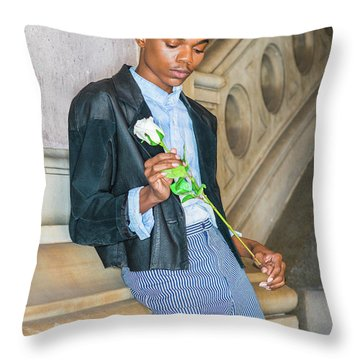Throw Pillow featuring the photograph Boy With White Rose 15042622 by Alexander Image