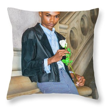 Throw Pillow featuring the photograph Boy With White Rose 15042623 by Alexander Image