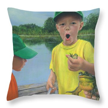 Boys And Frogs Throw Pillow