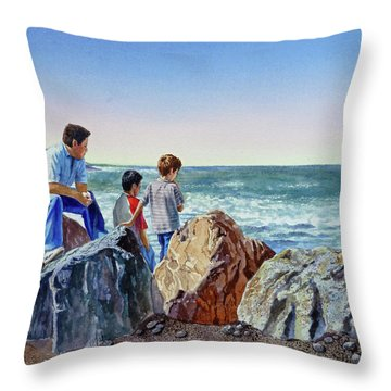 Boys And The Ocean Throw Pillow