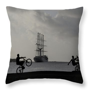 Boys At Play Throw Pillow by Sharon Jones