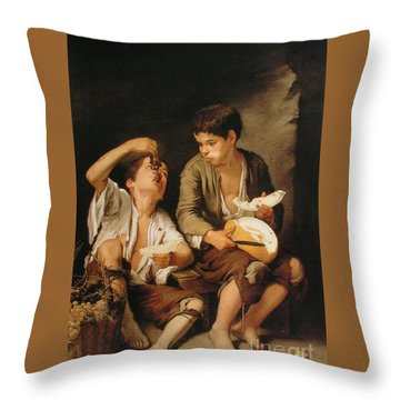 Boys Eating Grapes And Melon Throw Pillow by Pg Reproductions