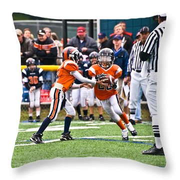 Boys Football Throw Pillow by Susan Leggett