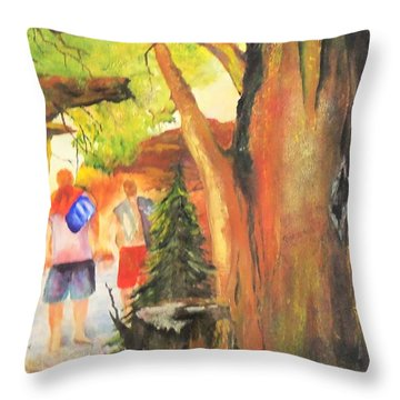 Boys In The Woods Throw Pillow