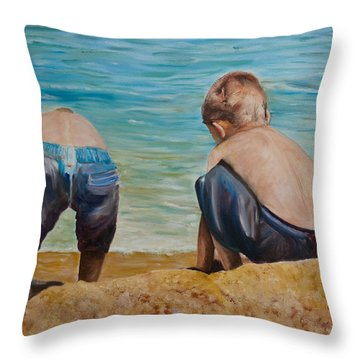 Boys On A Beach Throw Pillow