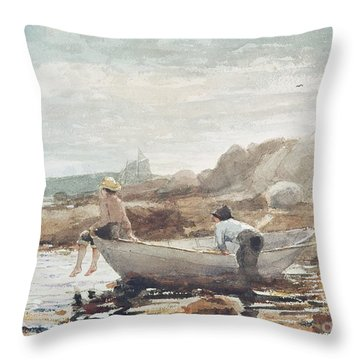 Boys On The Beach Throw Pillow