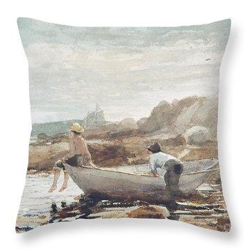 Boys On The Beach Throw Pillow by Winslow Homer