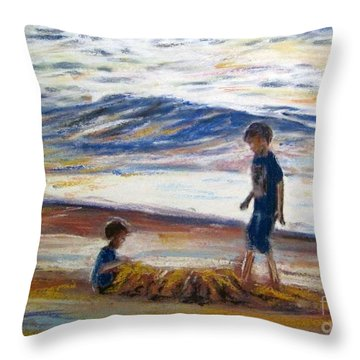 Boys Playing At The Beach Throw Pillow
