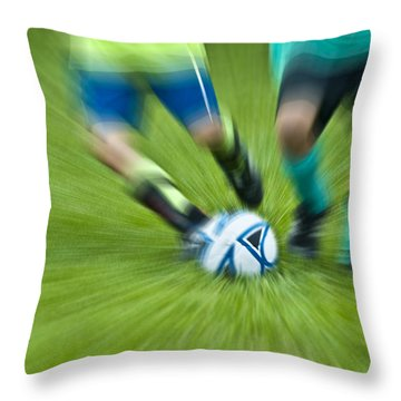 Boys Soccer Throw Pillow by John Greim