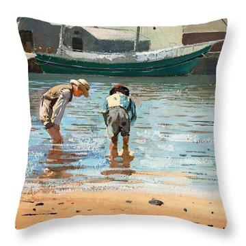 Boys Wading Throw Pillow