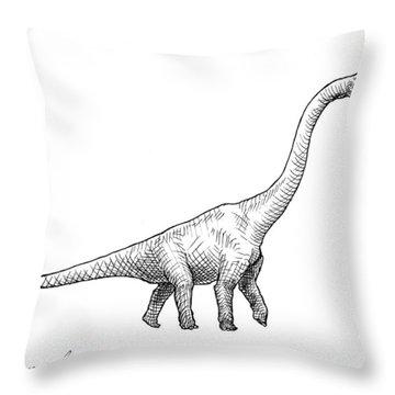 Brachiosaurus Dinosaur Black And White Dino Drawing  Throw Pillow